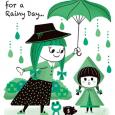 雨の日の女性と子供