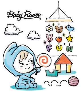 赤ちゃんとおもちゃのイラスト