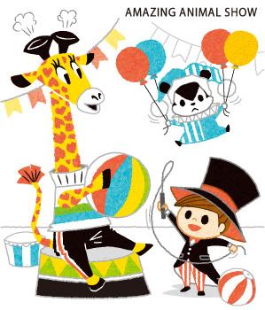 動物と子供のサーカス団イラスト