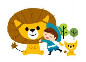 ライオンの親子と子供のイラスト