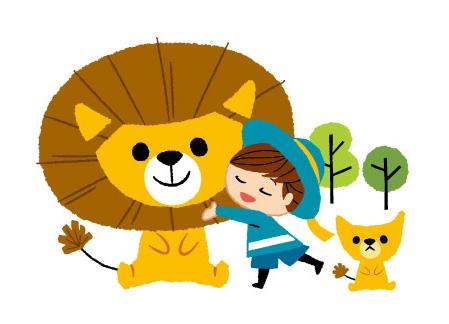 ライオンの親子と子供