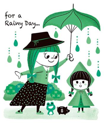 雨の日の女性と女の子