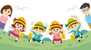幼稚園児と父母のイラスト